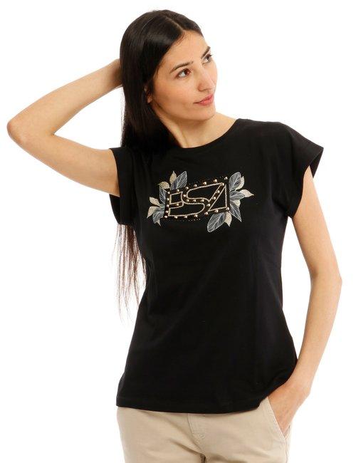 T-shirt Yes Zee con applicazioni - Nero
