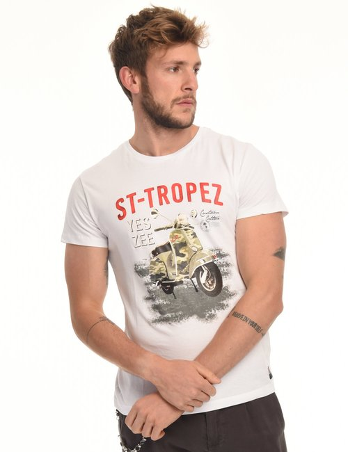 T-shirt Yes Zee stampa vintage - Bianco