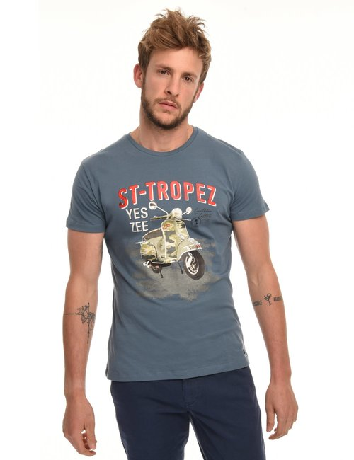 T-shirt Yes Zee stampa vintage - Azzurro