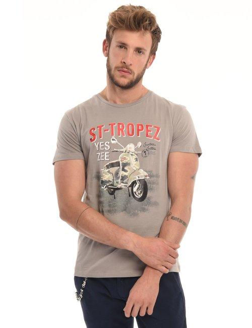 T-shirt Yes Zee stampa vintage - Beige