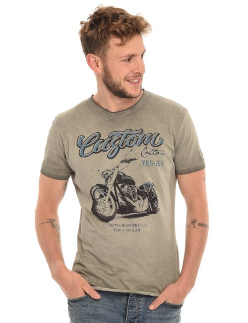 T-shirt Yes Zee stampa effetto consumato - Verde