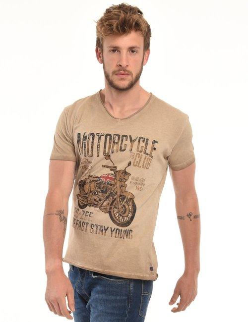 T-shirt Yes Zee con stampa - Marrone