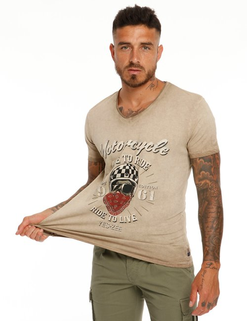 T-shirt Yes Zee effetto vintage - Beige