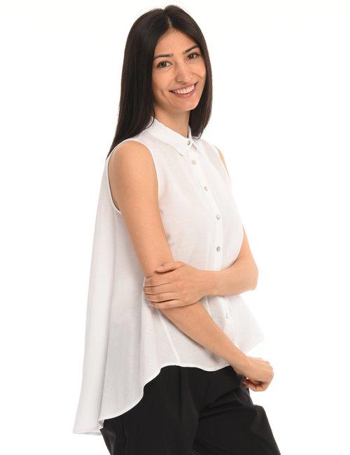 Camicia Vougue smanicata misto lino - Bianco