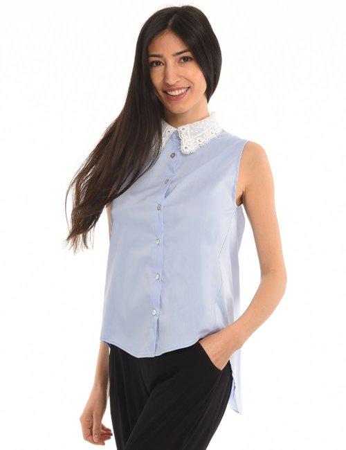 Camicia Vougue smanicata con collo in pizzo - Azzurro