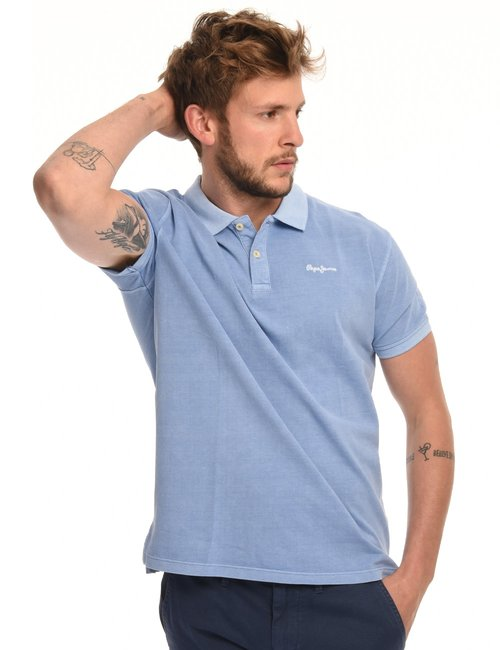 Polo Pepe Jeans delavè - Azzurro