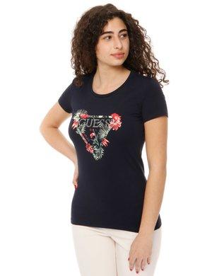 T-shirt Guess con logo glitterato