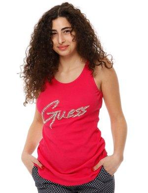 Canotta Guess con logo glitterato