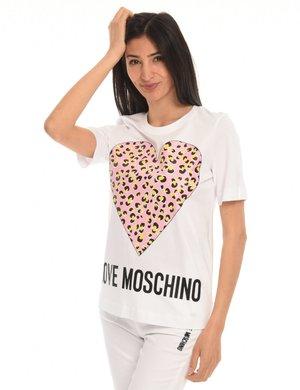 T-shirt Love Moschino cuore animalier