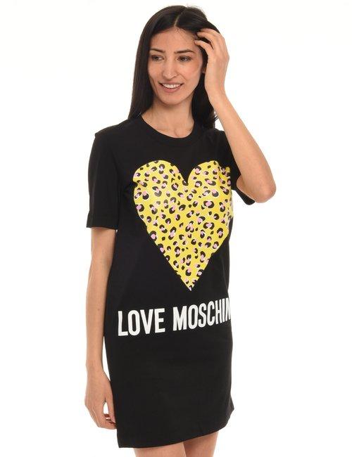 Vestito Love Moschino cuore animalier - Nero