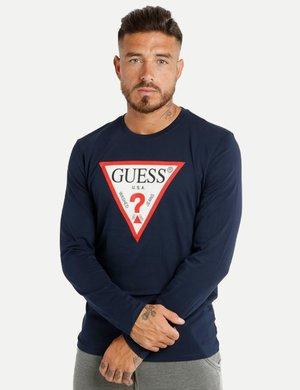 T-shirt Guess a maniche lunghe con logo stampato