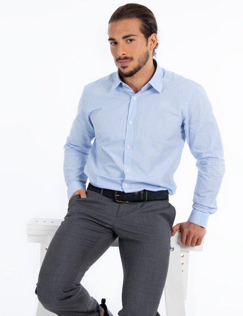 Camicia elegante in cotone - Light Blue