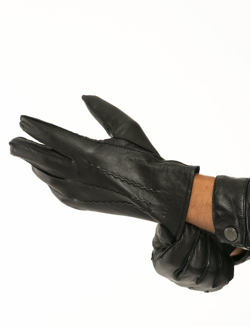 Guanti Gant in pelle e cashmere - Nero