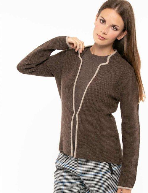 Maglione Maison du Cachemire senza allacciatura - Marrone