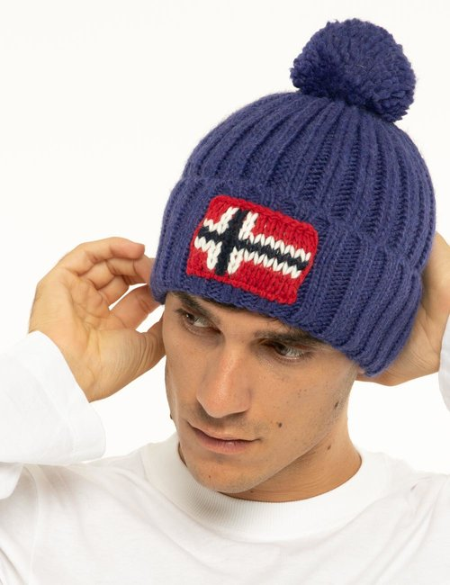 Cappello Napapijri con bandiera lavorata a maglia - Blu