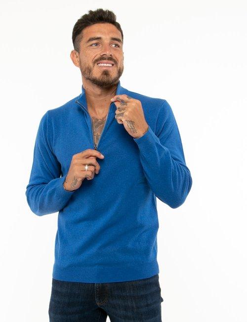 Maglione Maison du Cachemire con mezza zip - Blu