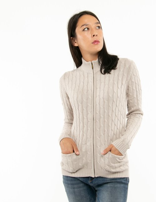 Maglione Maison du Cachemire con zip - Beige