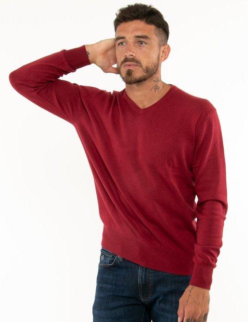 Maglione Maison du Cachemire scollo a V - Rosso