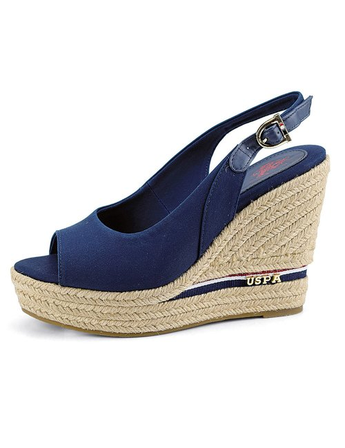 Sandalo U.S. Polo Assn. con zeppa in corda - Blu