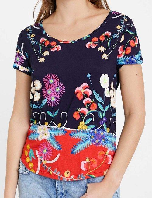 T-shirt Desigual floreale - Blu