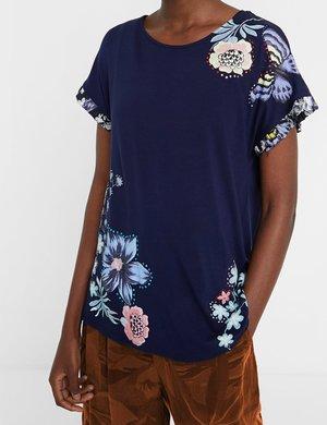 T-shirt Desigual con bordi e stampa floreale