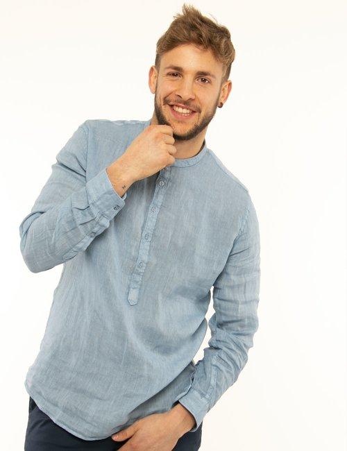 Camicia Fred Mello in lino - Azzurro