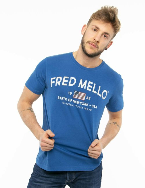T-shirt Fred Mello con scritta vintage - Blu