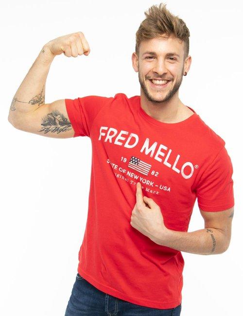 T-shirt Fred Mello con scritta vintage - Rosso