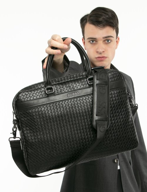 Borsa Guess porta PC in ecopelle - Nero