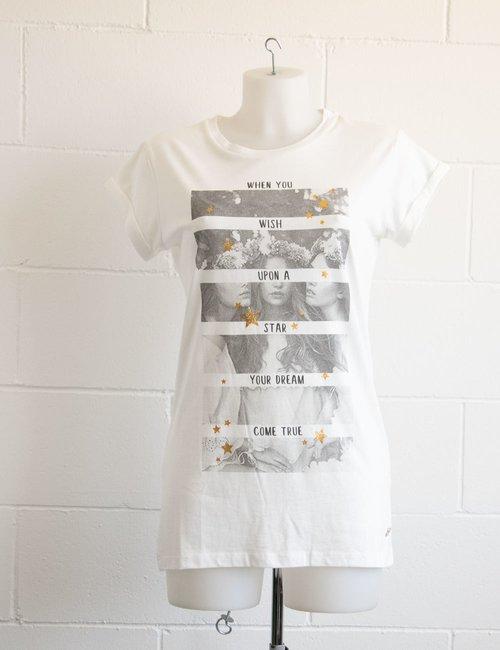 T-shirt Maison Espin con stampa e stelle glitterate - Bianco