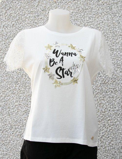 T-shirt Maison Espin con stampa e paillettes - Bianco