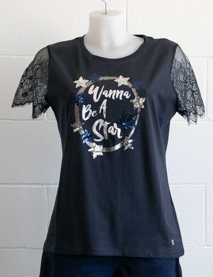 T-shirt Maison Espin con stampa e paillettes