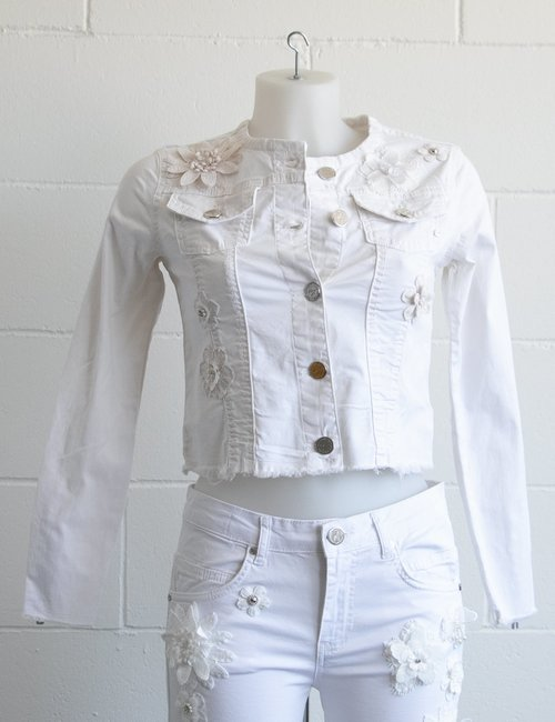 Giacca Maison Espin in jeans - Bianco