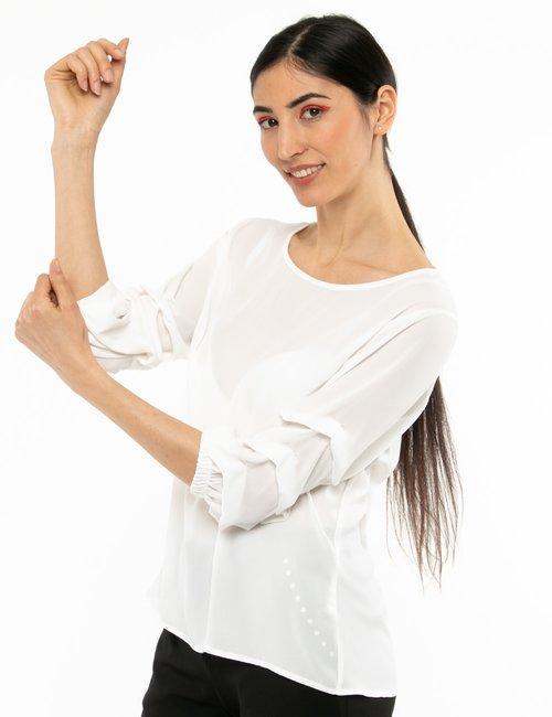 Camicia Vougue con maniche arricciate - Bianco