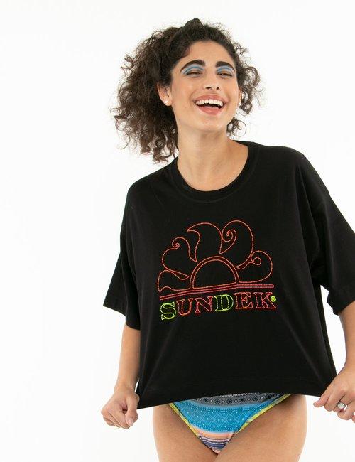 T-shirt Sundek con logo ricamato - Nero