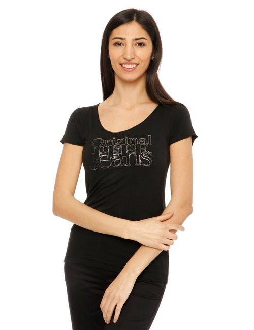 T-shirt Pepe Jeans con scritta e scollo ampio - Nero