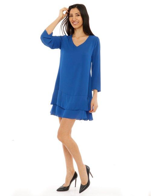 Vestito Vougue con balze - Blu