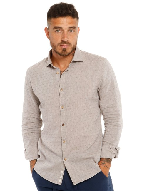 Camicia Yes Zee in tessuto naturale - Beige