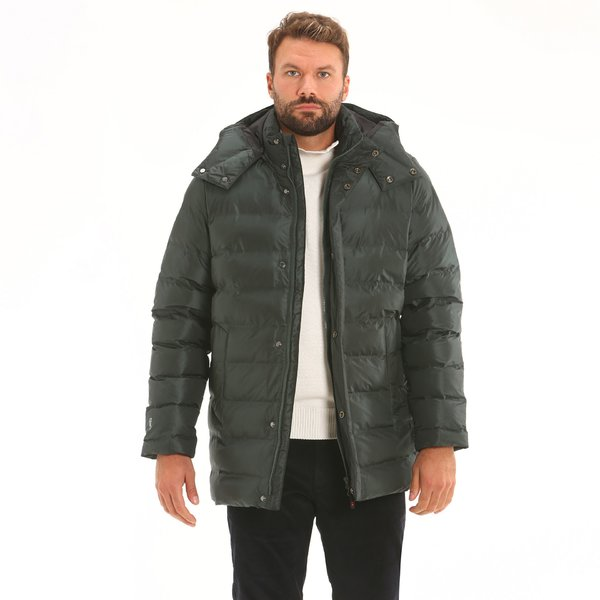 Waterproof padded Men's jacket F11 with a detachable hood