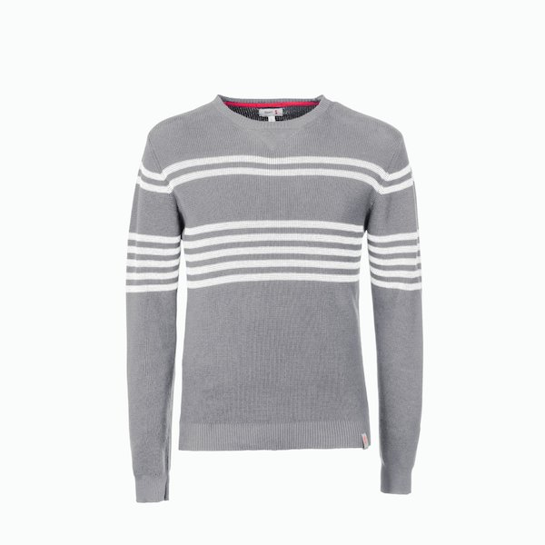 C210 men's sweater in cotton with honeycomb texture