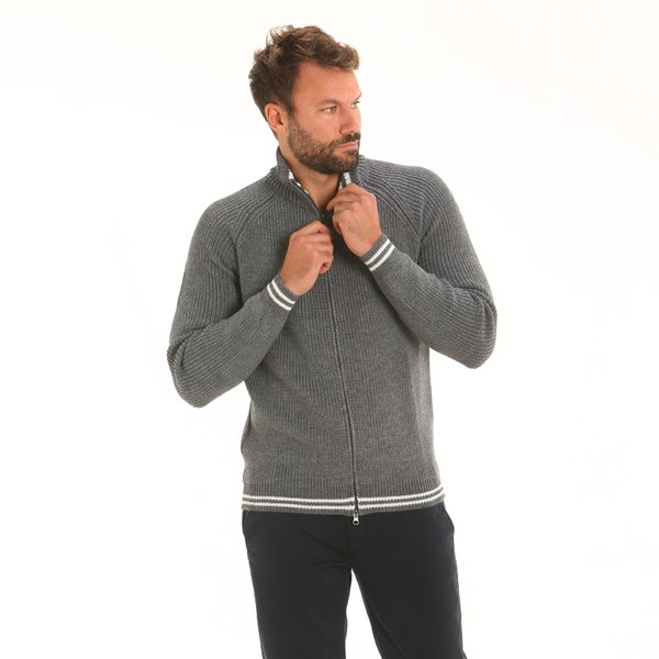 Cardigan homme D55 en mérinos technique mixte