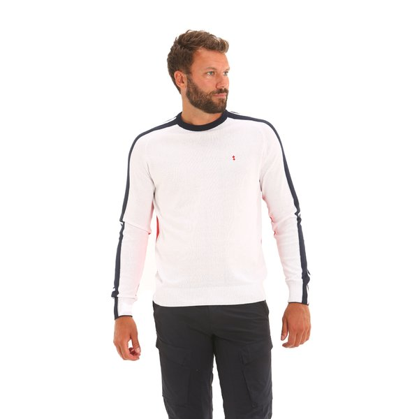Suéter hombre E32 con cuello redondo de poliéster y algodón reciclado