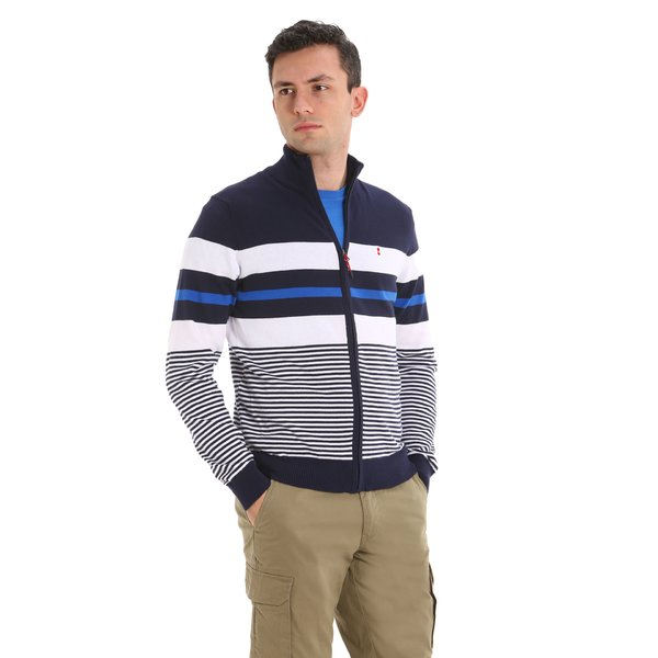 Men's cardigan E37 in Cotton with full-zip