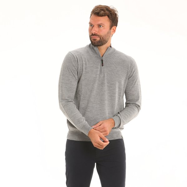 Men jumper F81 in merino wool with zip collar