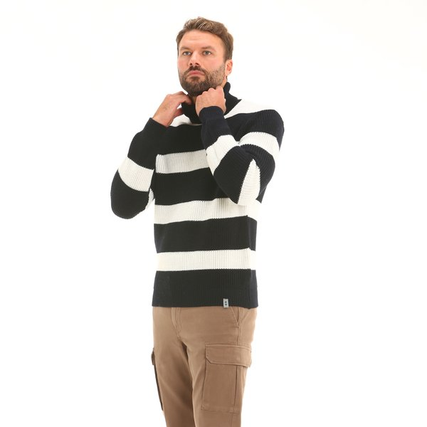 Italian-made merino blend polo-neck Men's jumper F57