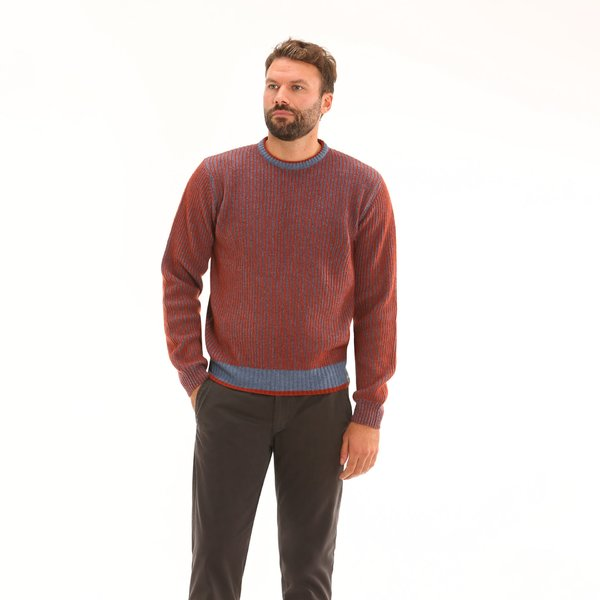 Italian-made lambswool blend crew-neck Men's jumper F54