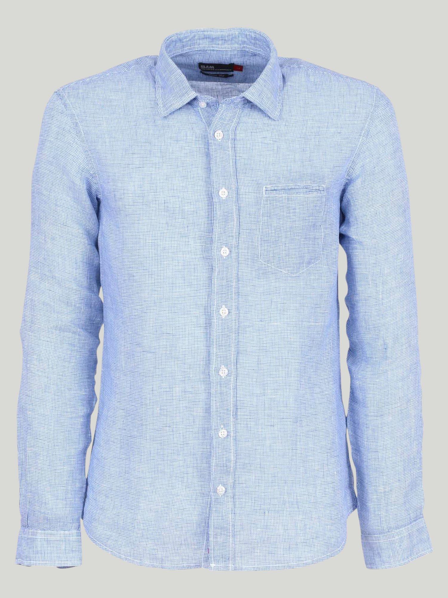 Clench shirt - Pied De Poule Light Blue / White