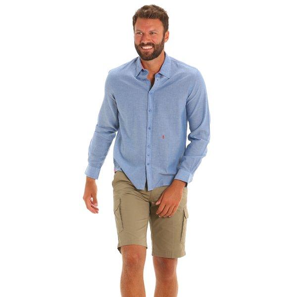 Camisa C26 para hombre de manga larga en cambray de algodón 100 %