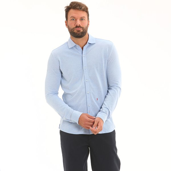 Camisa E133 para hombre en piqué de algodón Oxford 100 %