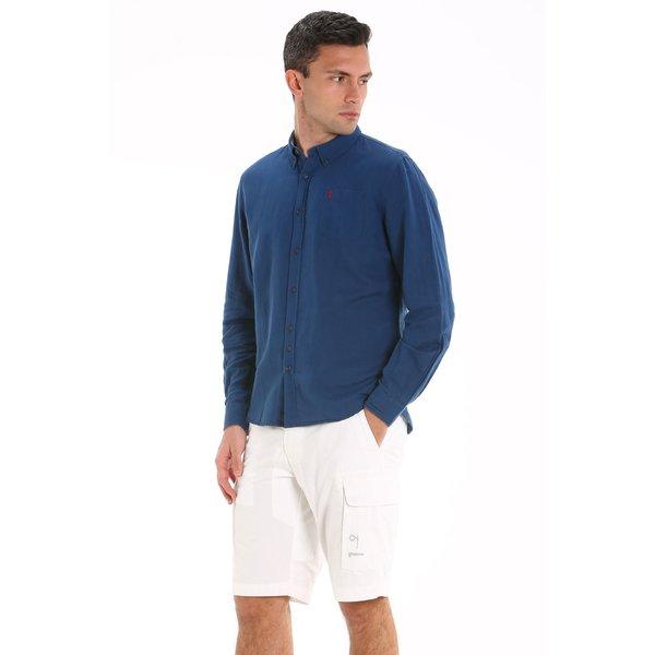 Camicia uomo E121 in misto lino a manica lunga
